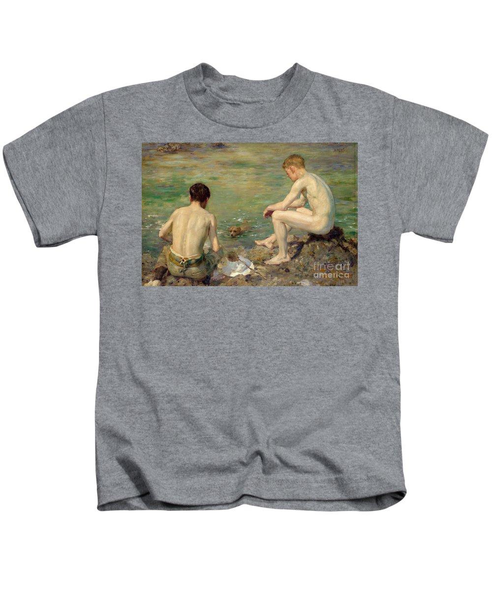 Bal13741 Kids T-Shirt featuring the painting Three Companions by Henry Scott Tuke