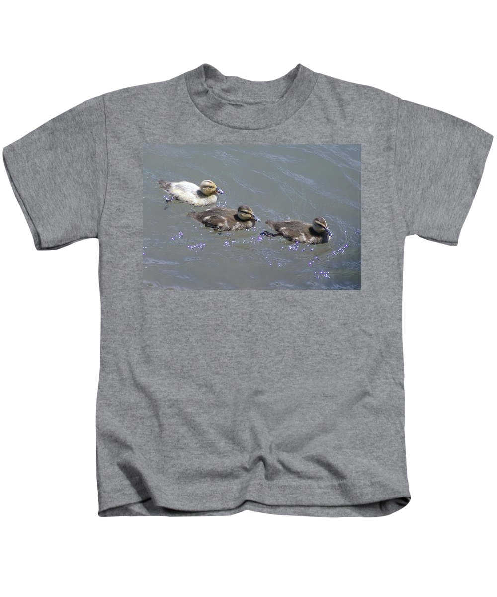 Fowl Kids T-Shirt featuring the photograph Three Duckies by Jeff Swan
