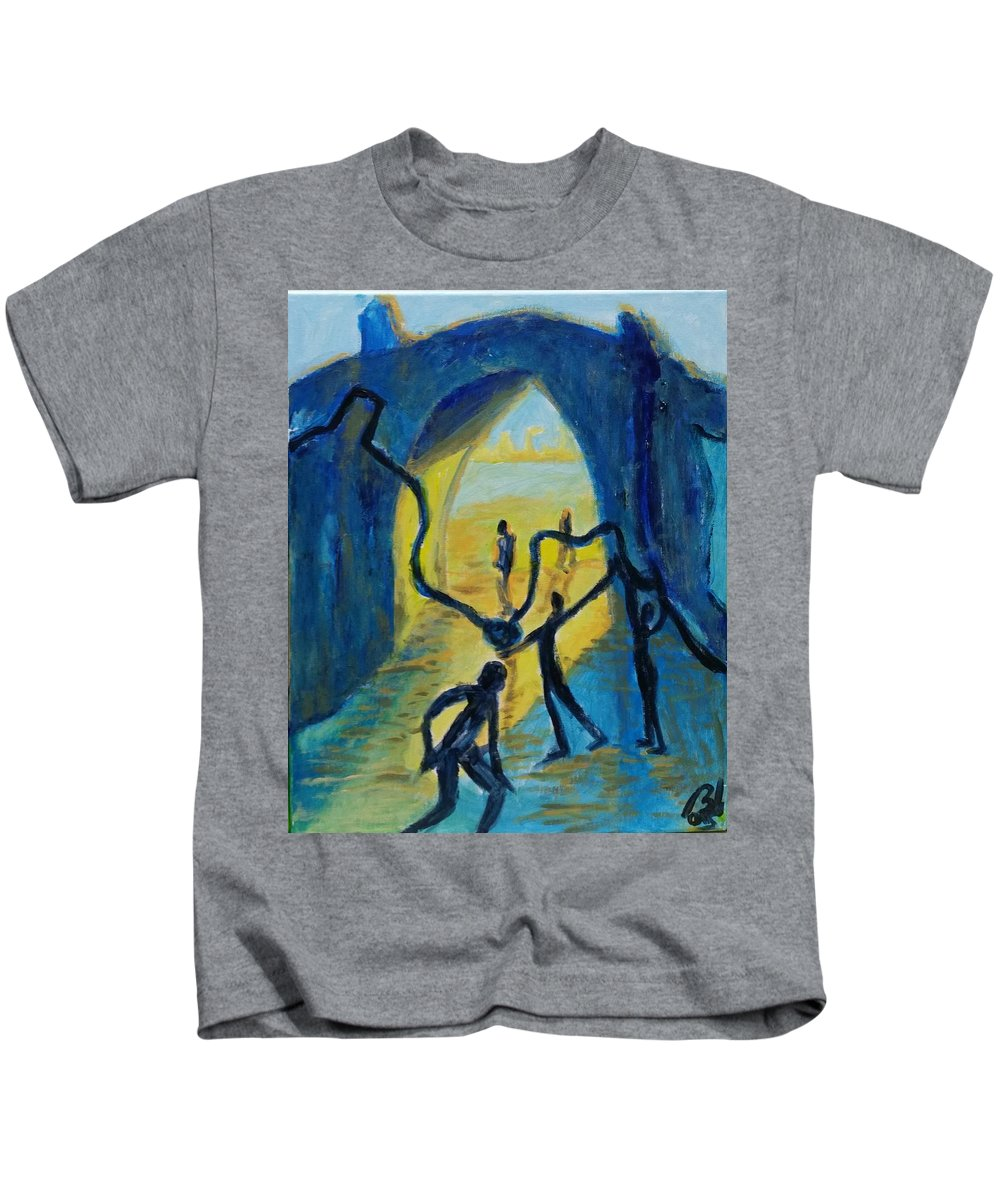Process Kids T-Shirt featuring the painting Three Moments. Second Moment Walking And Dancing by Bachmors Artist