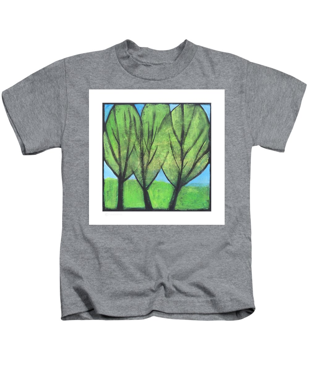 Trees Kids T-Shirt featuring the painting Three Sisters by Tim Nyberg