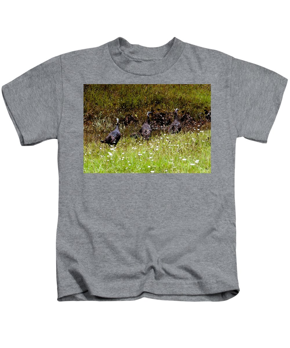 Turkey Kids T-Shirt featuring the painting Three Turkeys by David Lee Thompson