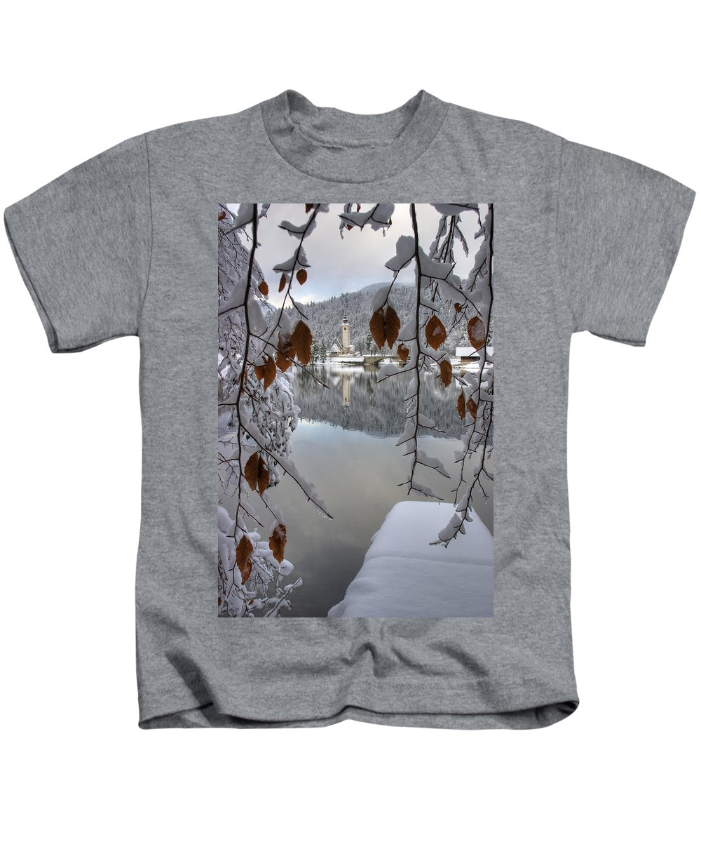 Winter Kids T-Shirt featuring the photograph Through The Snow Trees by Ian Middleton