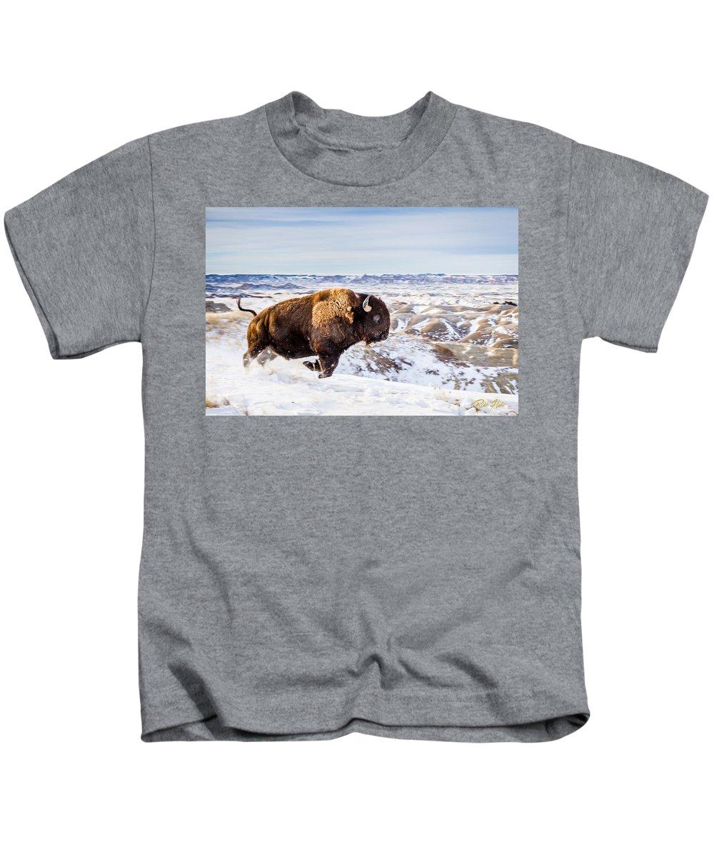 South Dakota Kids T-Shirt featuring the photograph Thunder In The Snow by Rikk Flohr