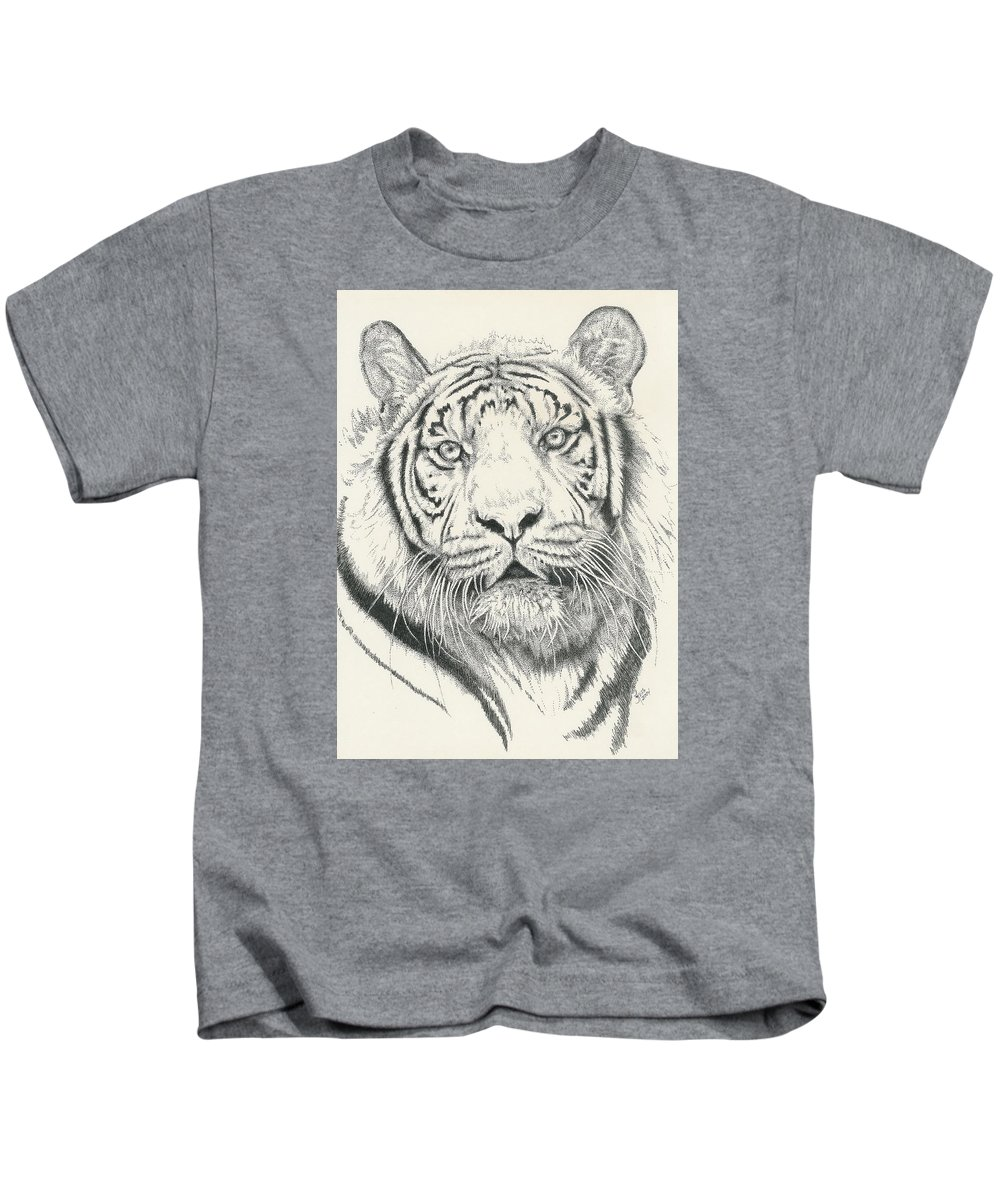 Tiger Kids T-Shirt featuring the drawing Tigerlily by Barbara Keith
