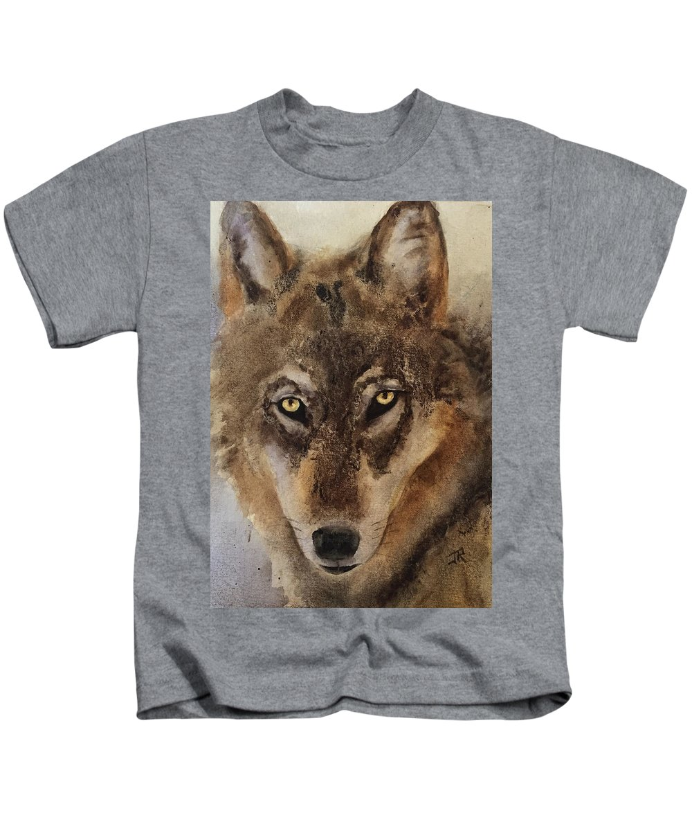 Timber Wolf Kids T-Shirt featuring the painting Timber Wolf by June Rollins