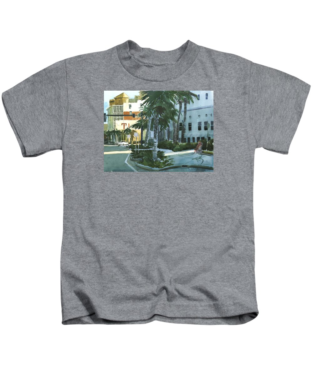 Landscape Kids T-Shirt featuring the painting Tinson's Corner by Thomas Tribby