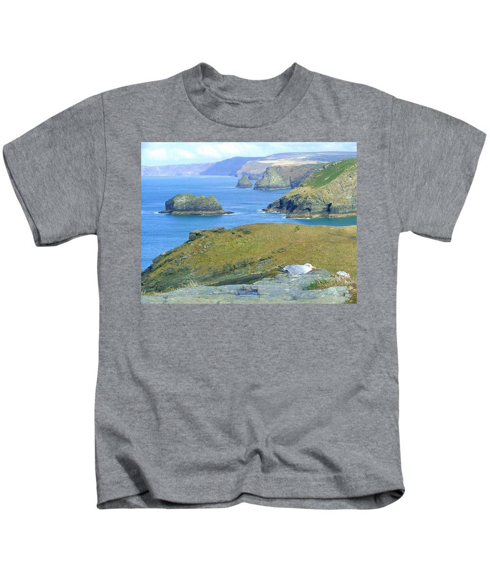 Cornwall Kids T-Shirt featuring the photograph Tintagel by Heather Lennox