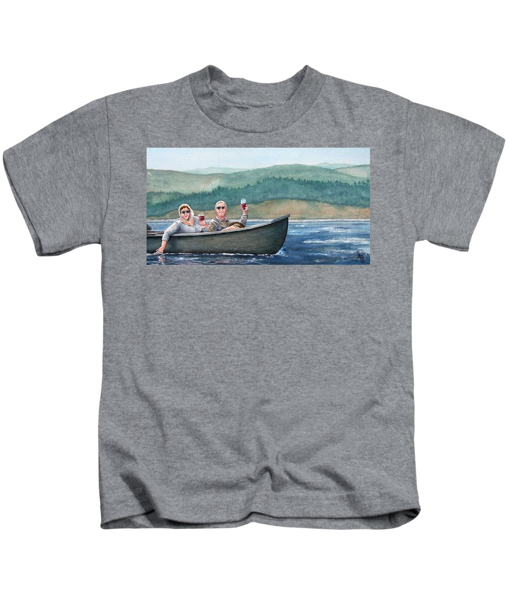 Canoe Kids T-Shirt featuring the painting To Life by Gale Cochran-Smith