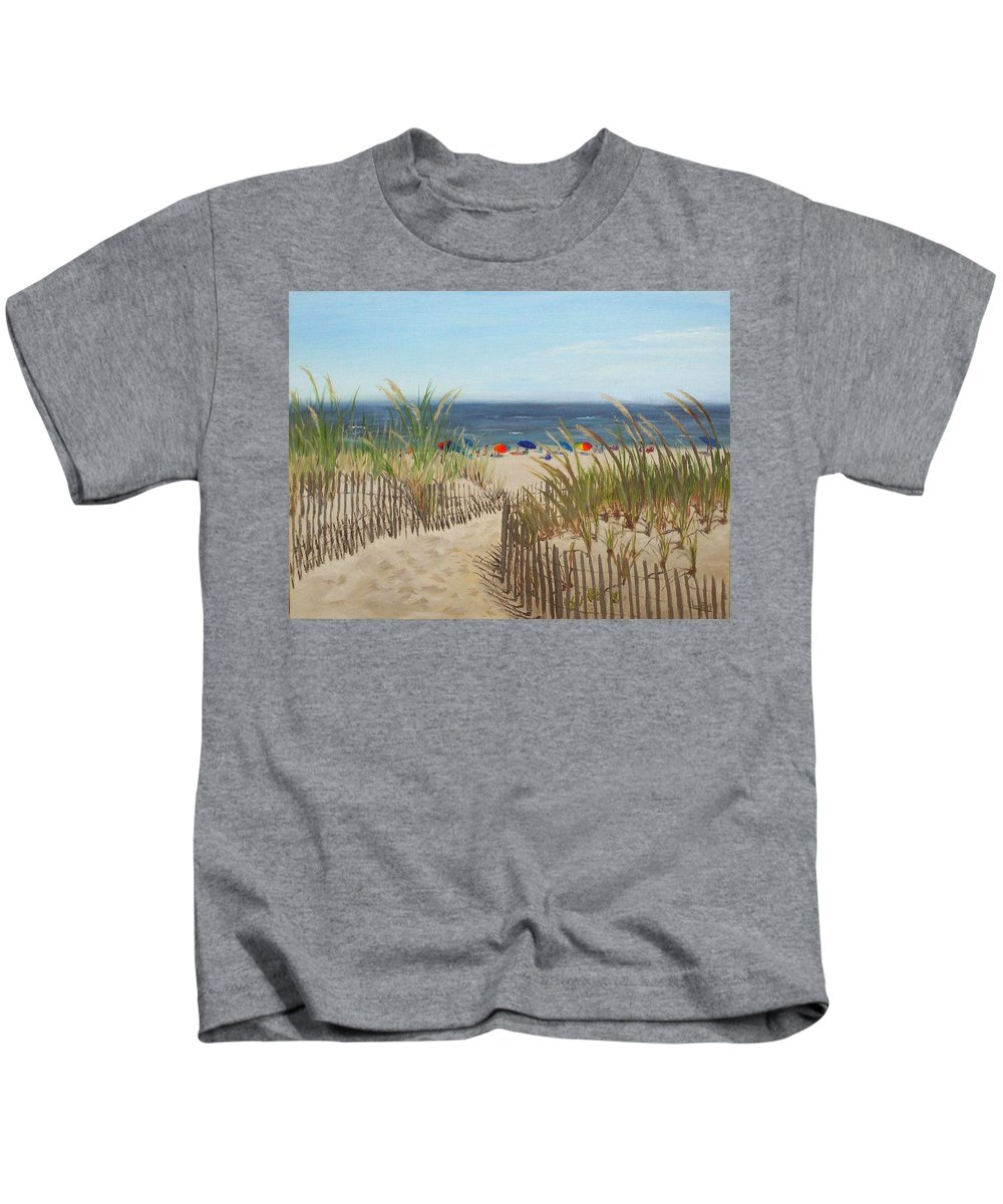 Beach Kids T-Shirt featuring the painting To The Beach by Lea Novak