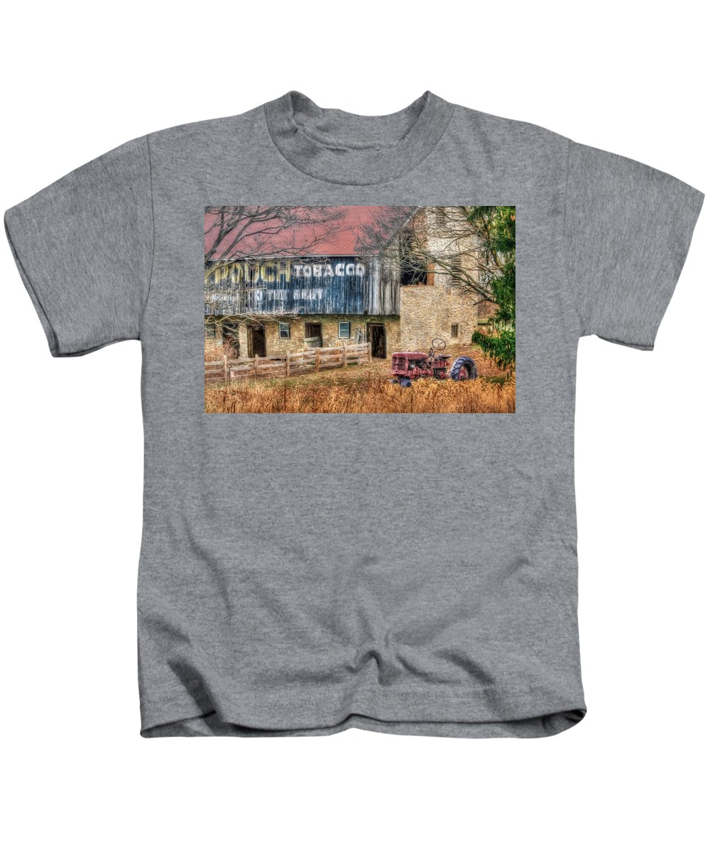 Barn Kids T-Shirt featuring the photograph Tobacco Tractor by Lori Deiter