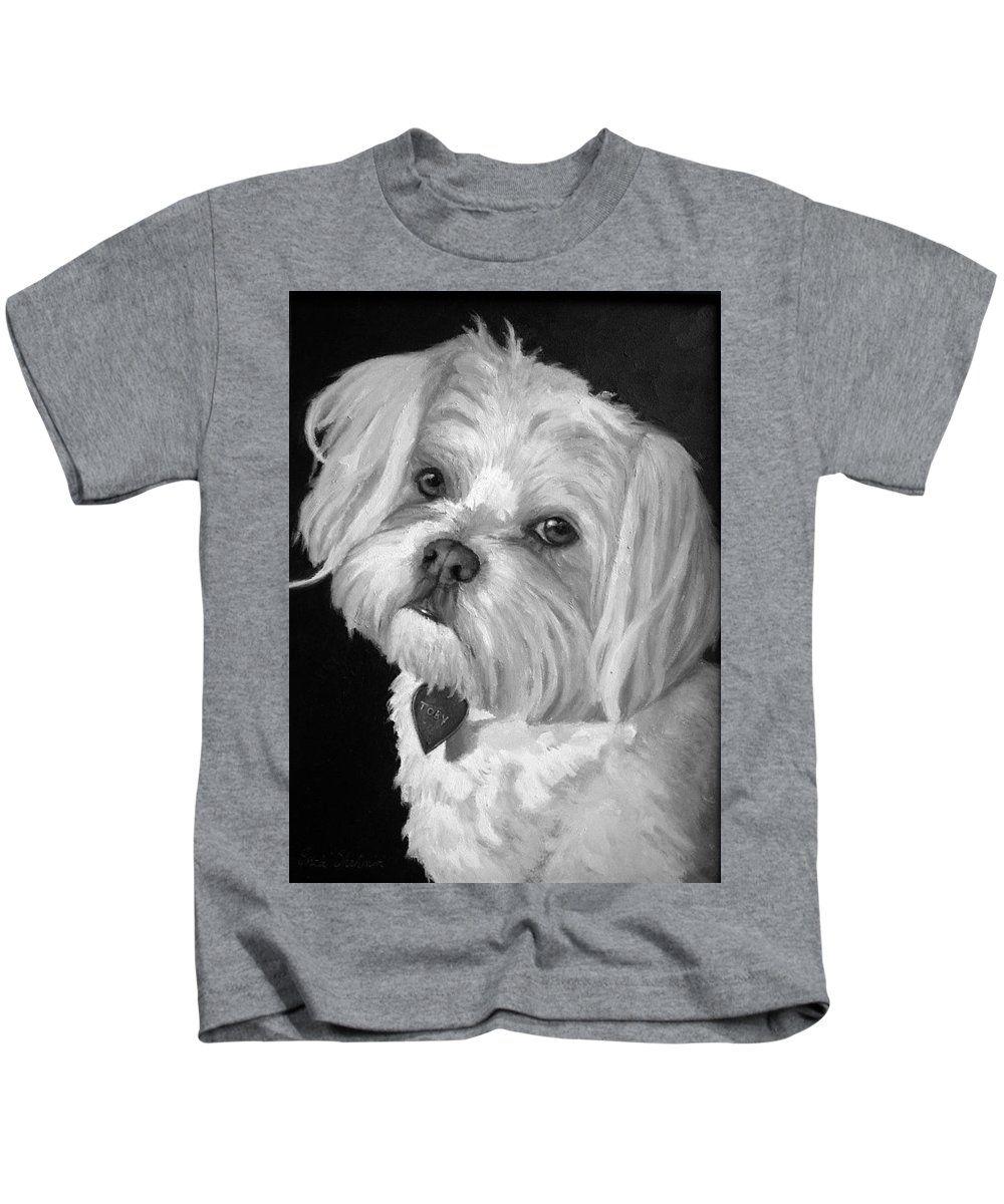 Dogs Kids T-Shirt featuring the painting Toby by Portraits By NC