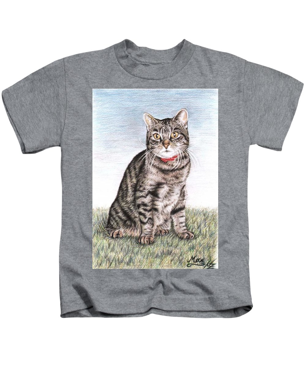 Cat Kids T-Shirt featuring the drawing Tomcat Max by Nicole Zeug