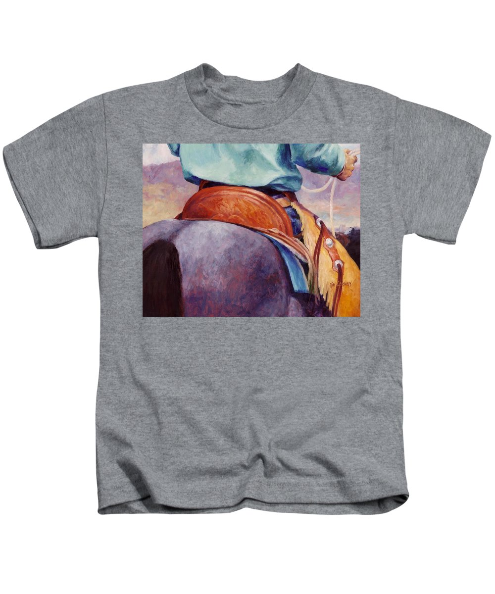 Saddle Kids T-Shirt featuring the painting Toms Saddle Western Painting Cowboy Art by Kim Corpany