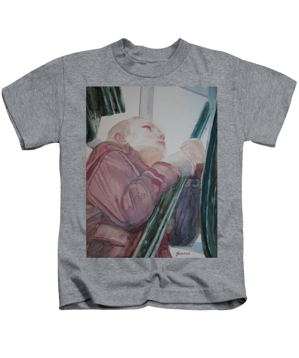 Boy Kids T-Shirt featuring the painting Top Of The Lighthouse Stairs by Jenny Armitage