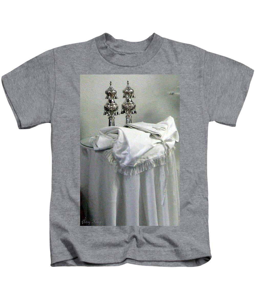 Yom Kippur Kids T-Shirt featuring the photograph Torah Dressings On Yom Kipur by Amy Hosp