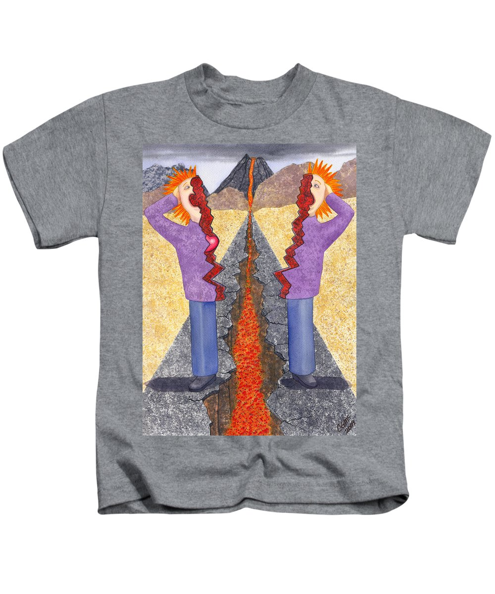 Frustration Kids T-Shirt featuring the painting Torn by Catherine G McElroy