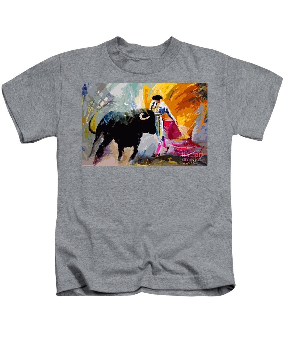 Toros Kids T-Shirt featuring the mixed media Toroscape 03 by Miki De Goodaboom
