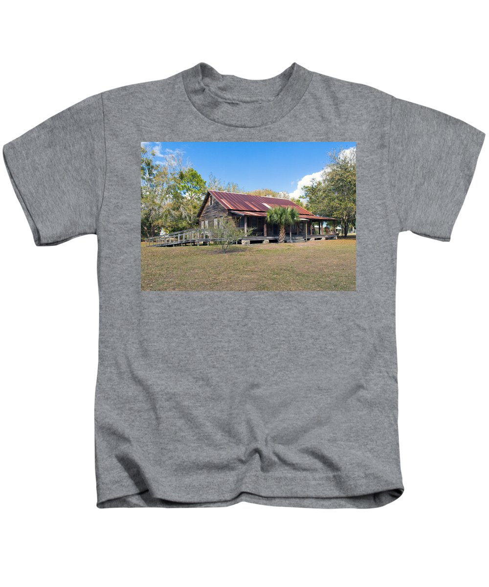 Florida; Ranch; Cattle; Central; Tosohatchee; Beehead; Beehive; Tree; Bee; Honey; Cracker; Cow; Cowb Kids T-Shirt featuring the photograph Tosohatchee Cattle Ranch In Central Florida by Allan Hughes