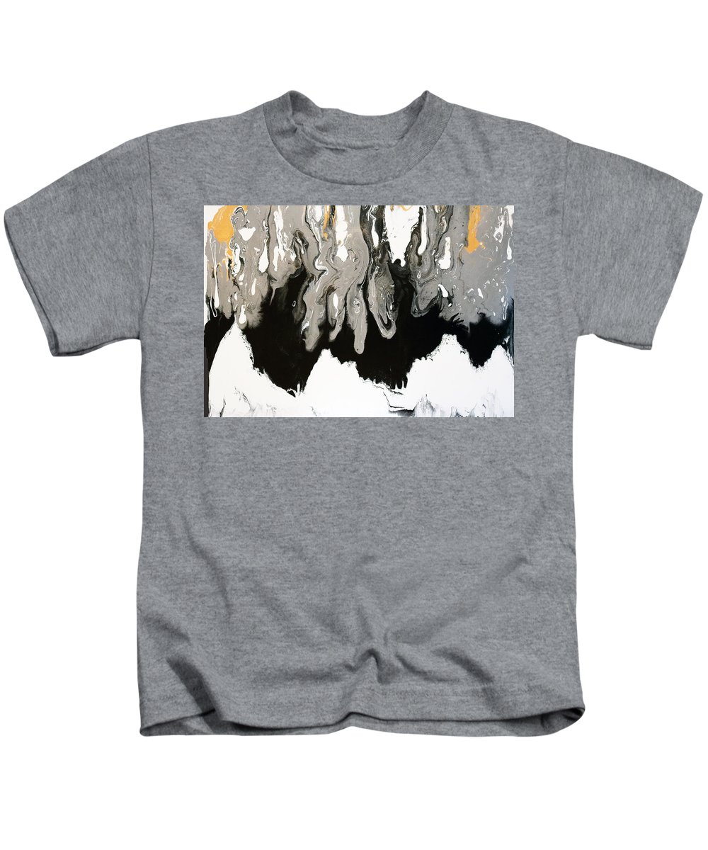 Abstract Kids T-Shirt featuring the painting Touch Of Gold by Carole Sluski