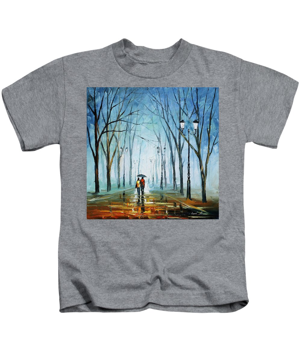 Afremov Kids T-Shirt featuring the painting Touching Fog by Leonid Afremov