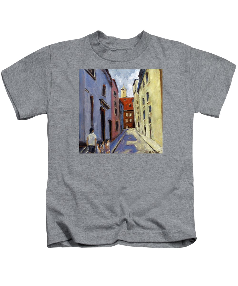 Urban Kids T-Shirt featuring the painting Tour Of The Old Town by Richard T Pranke