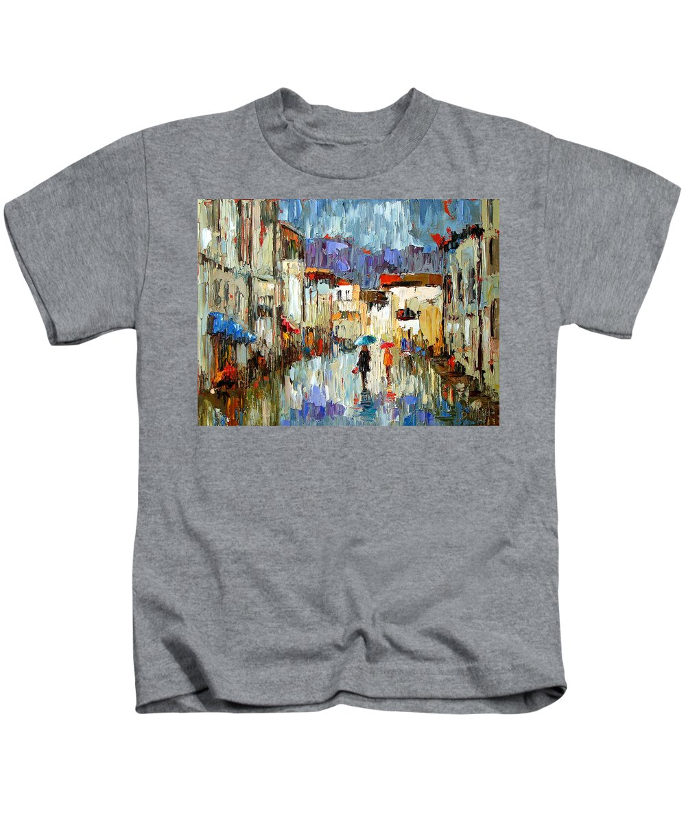 Landscape Kids T-Shirt featuring the painting Tourists by Debra Hurd