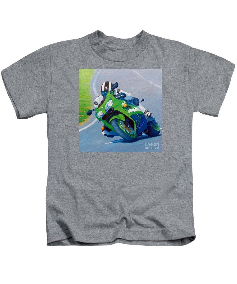 Motorcycle Kids T-Shirt featuring the painting Track Day - Kawasaki Zx9 by Brian Commerford