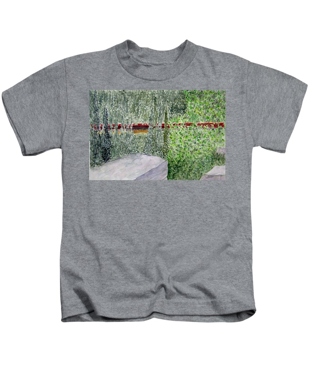 Train Art Kids T-Shirt featuring the painting Train Spotting by Larry Wright