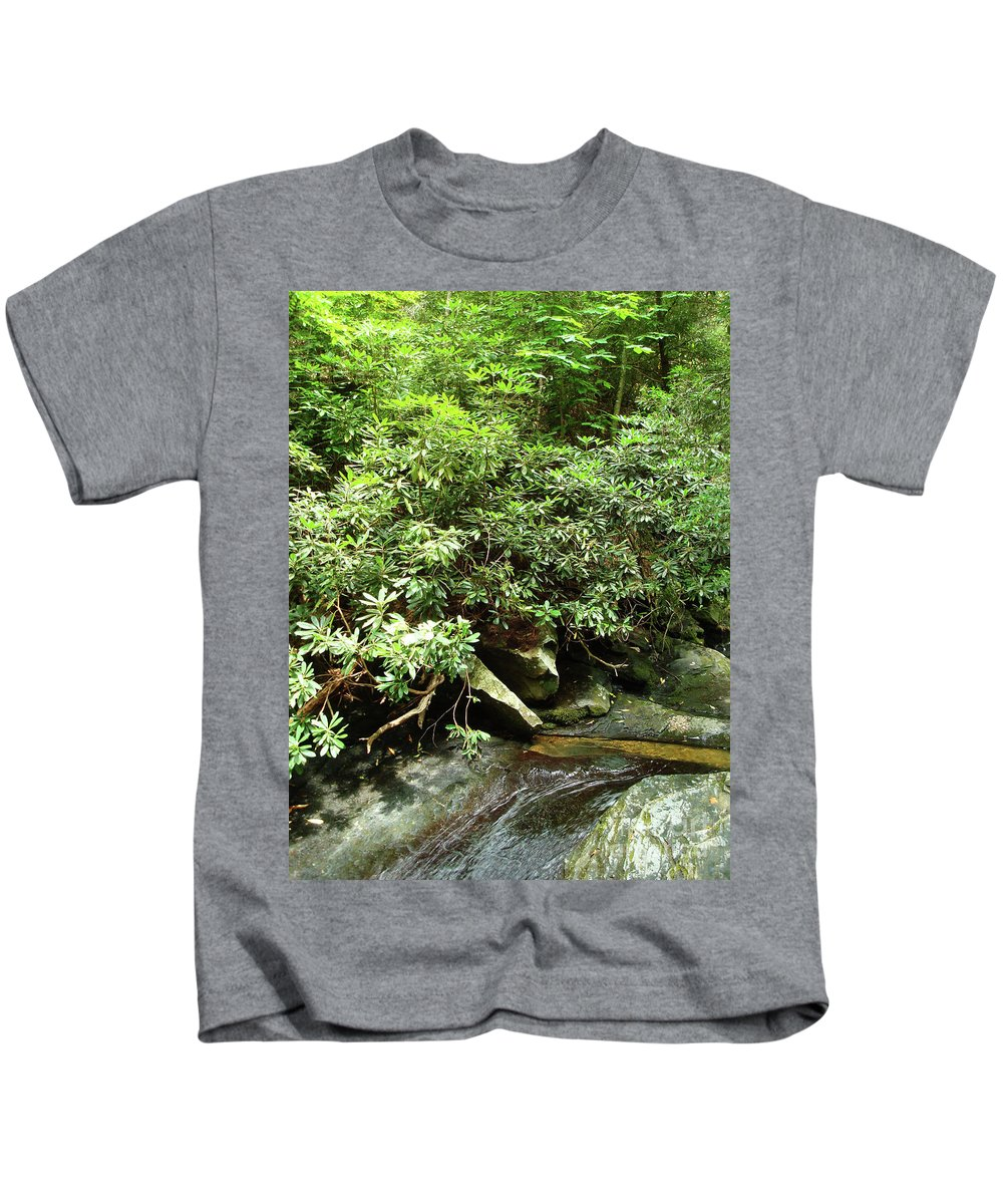 Mountain Kids T-Shirt featuring the photograph Tranquil Mountain Laurel Stream In The Great Smoky Mountains National Park by Maili Page