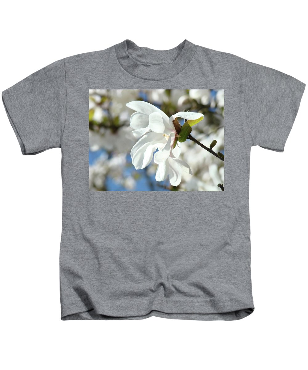 Magnolia Kids T-Shirt featuring the photograph Tree Floral Garden White Magnolia by Baslee Troutman