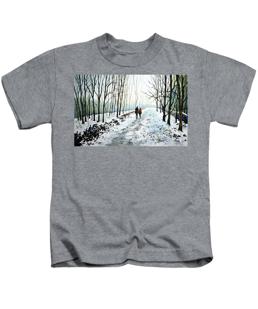 Winter Landscape Kids T-Shirt featuring the painting Tree Lined Stroll by Paul Dene Marlor