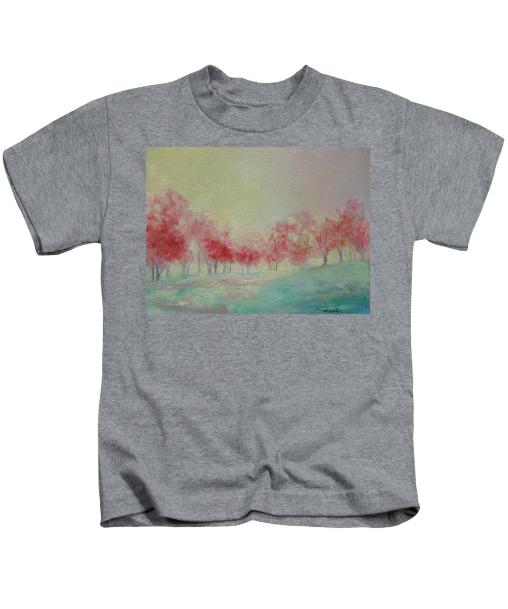 Impressionist Trees Kids T-Shirt featuring the painting Treeline by Ginger Concepcion