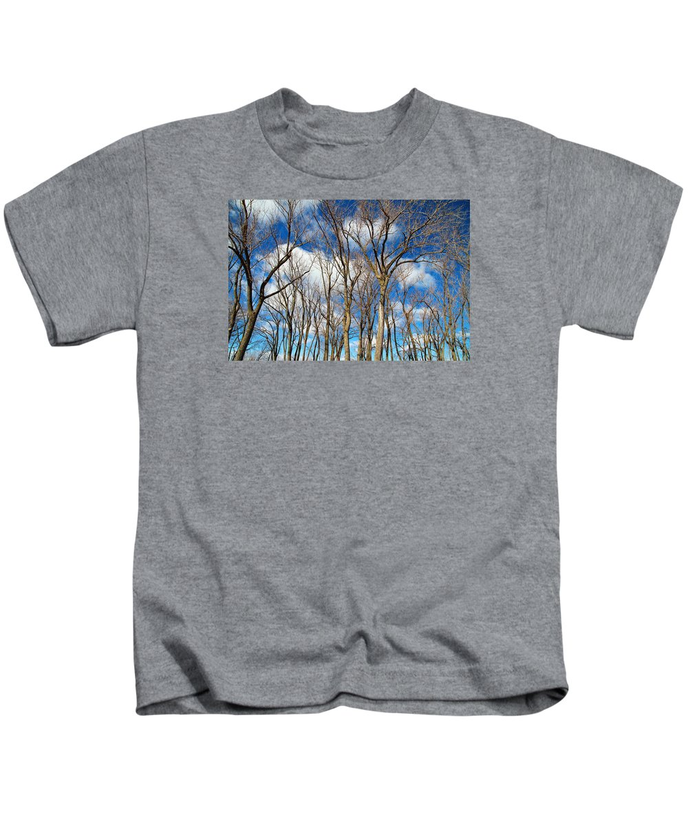 Winter Kids T-Shirt featuring the photograph Trees And Clouds by Valentino Visentini
