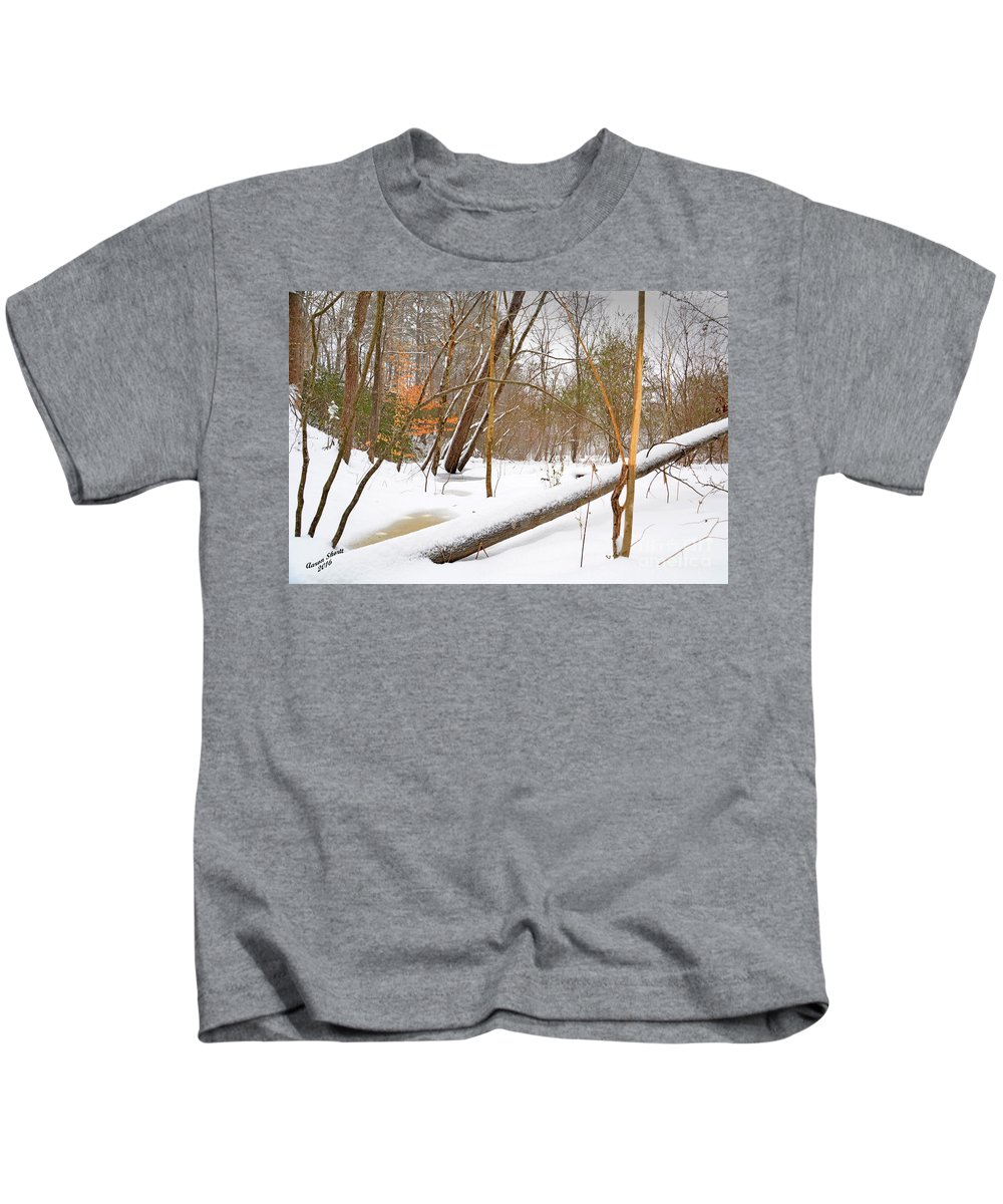 Trees Kids T-Shirt featuring the photograph Trees And Snow by Aaron Shortt