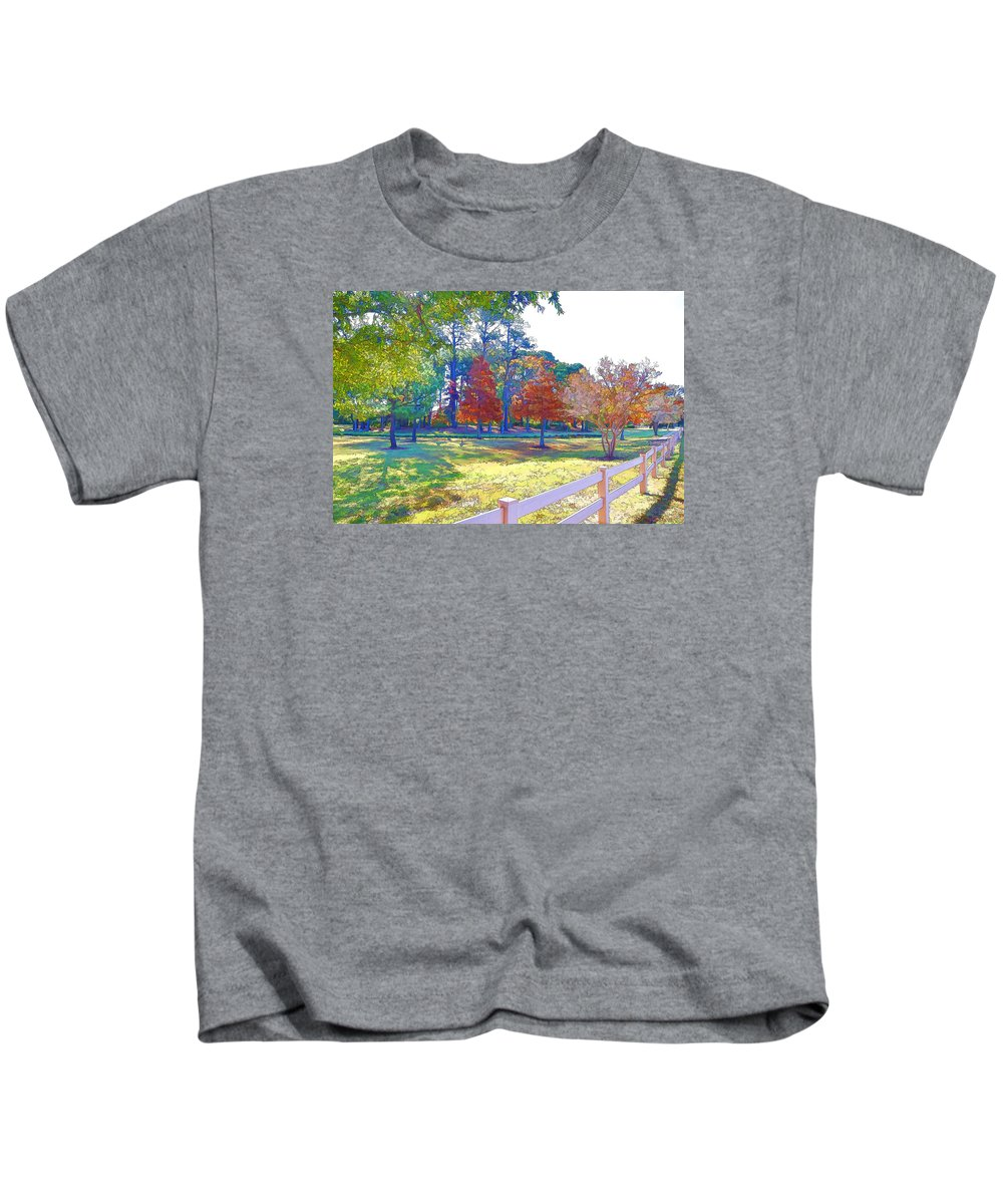 Trees In Park Kids T-Shirt featuring the painting Trees In Park 1 by Jeelan Clark