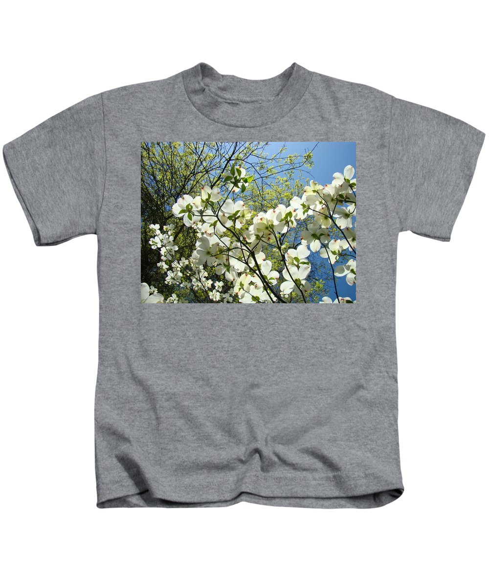 Dogwood Kids T-Shirt featuring the photograph Trees Sunlit White Dogwood Art Print Botanical Baslee Troutman by Baslee Troutman