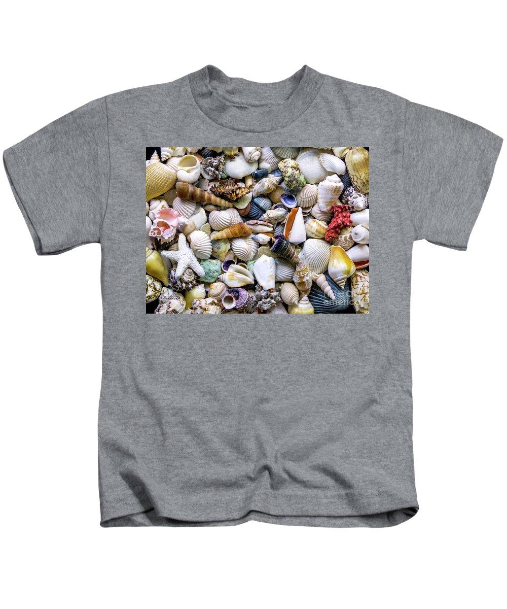 1500a Kids T-Shirt featuring the photograph Tropical Beach Seashell Treasures 1500a by Ricardos Creations