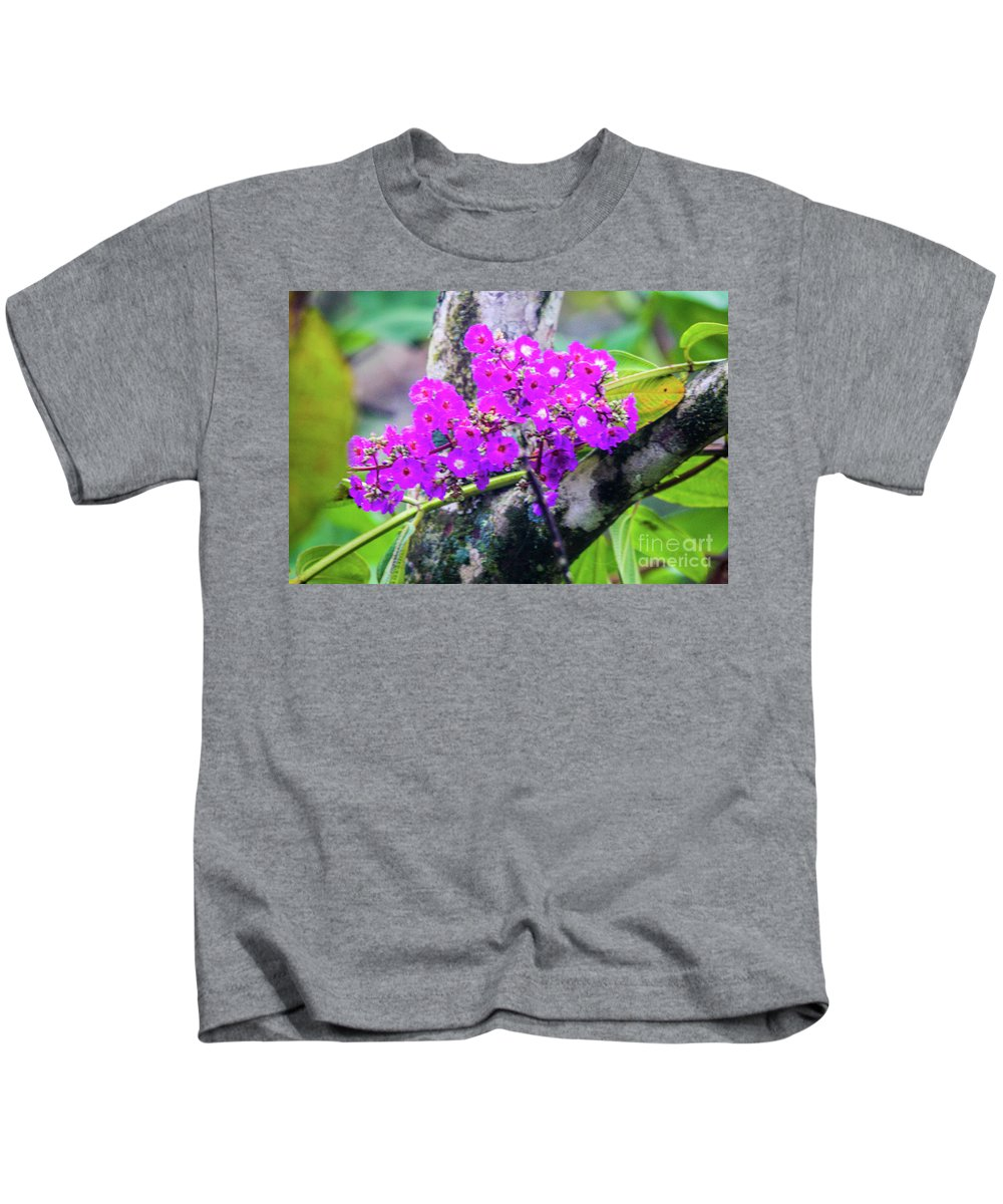 This Is A Photo Of One Of The Tropical Flowers Found In The Rain Forest Of Costa Rica. Kids T-Shirt featuring the photograph Tropical Flowers Of Costa Rica by William Rogers