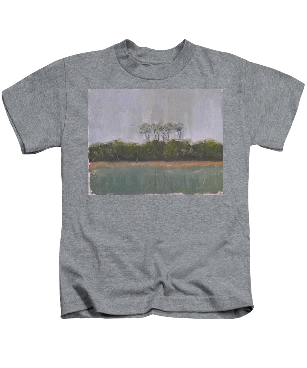 Landscape Beach Coast Tree Water Kids T-Shirt featuring the painting Tropical Storm by Patricia Caldwell