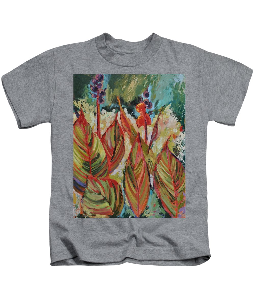 Tropicana Kids T-Shirt featuring the painting Tropicana by Ginger Concepcion