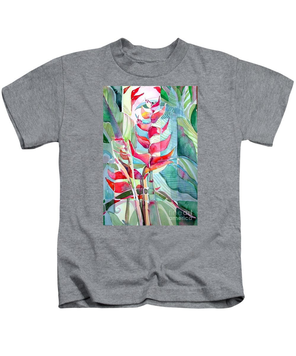 Landscape Kids T-Shirt featuring the painting Tropicana Red by Mindy Newman