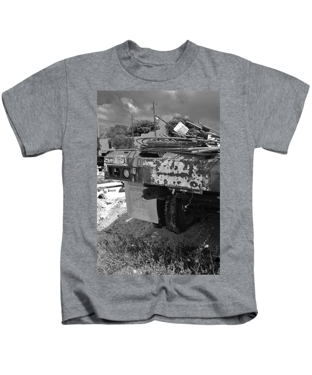 Black And White Kids T-Shirt featuring the photograph Trucks And Sky by Rob Hans