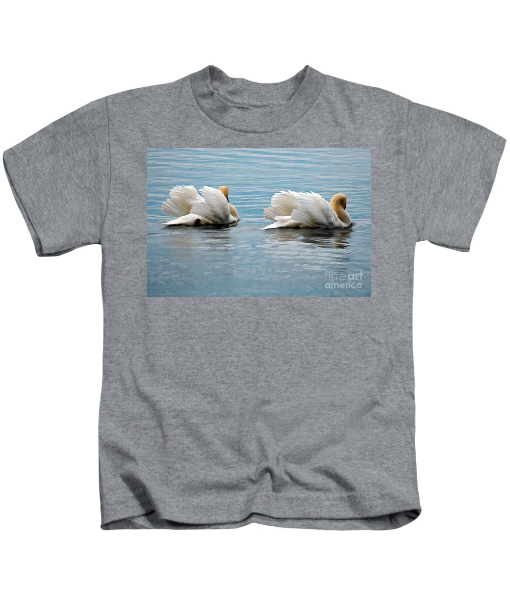 Swans Kids T-Shirt featuring the photograph True Love by Lois Bryan