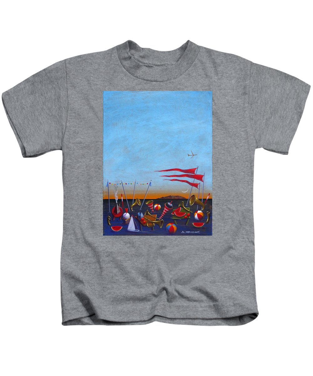 Piano Kids T-Shirt featuring the painting Trumpets Of The Mediterranean by Dimitris Milionis