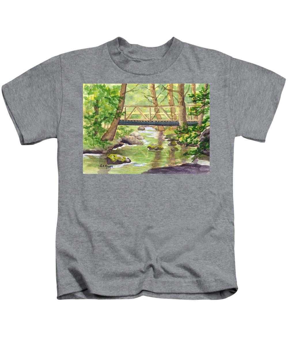 Stream Kids T-Shirt featuring the painting Tuckers Brook by Sharon E Allen