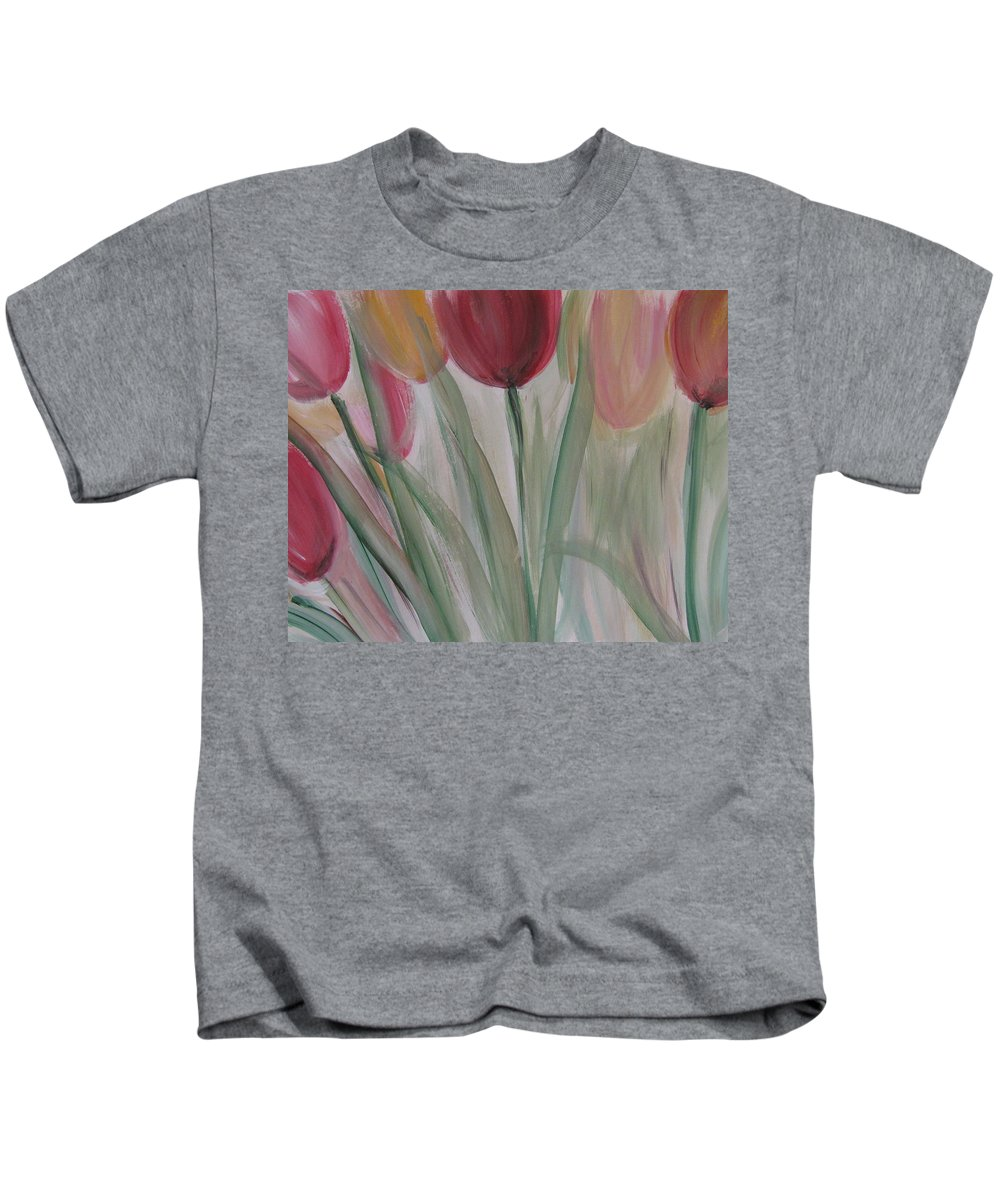 Tulips Kids T-Shirt featuring the painting Tulip Series 3 by Anita Burgermeister