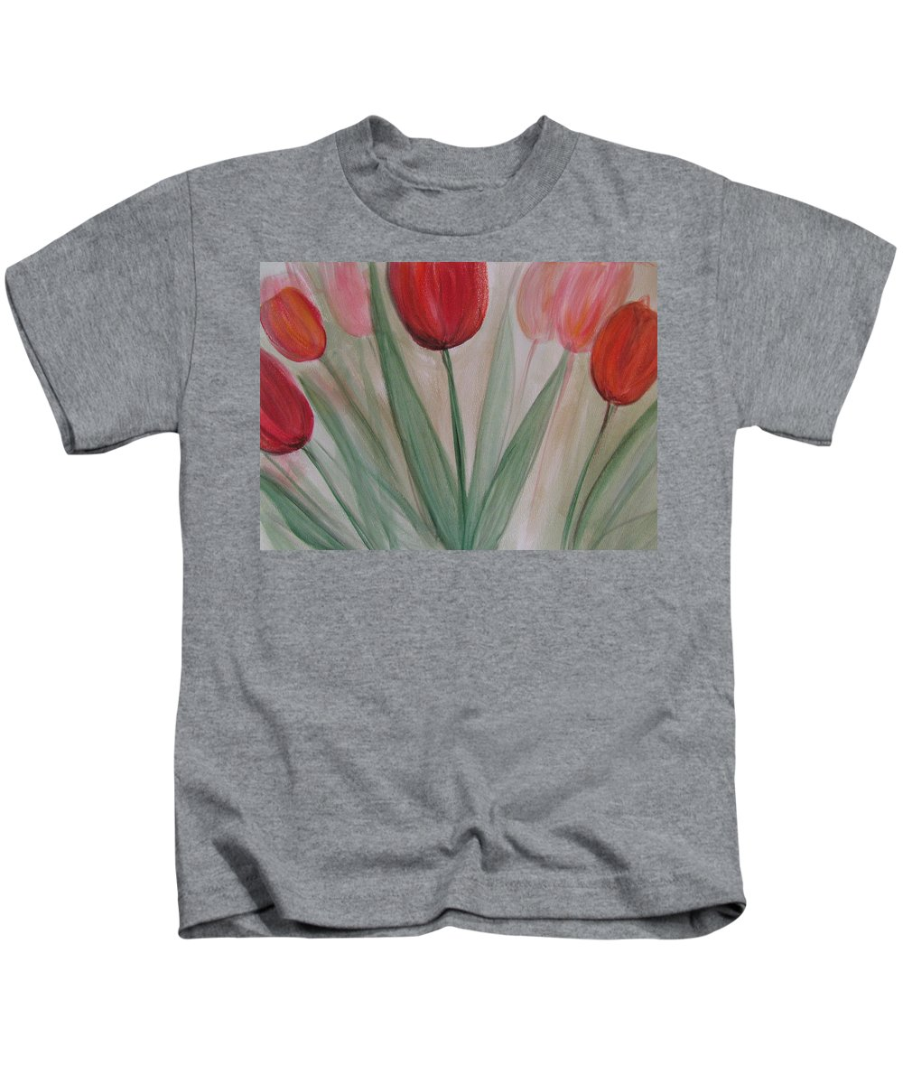 Tulips Kids T-Shirt featuring the painting Tulip Series 4 by Anita Burgermeister
