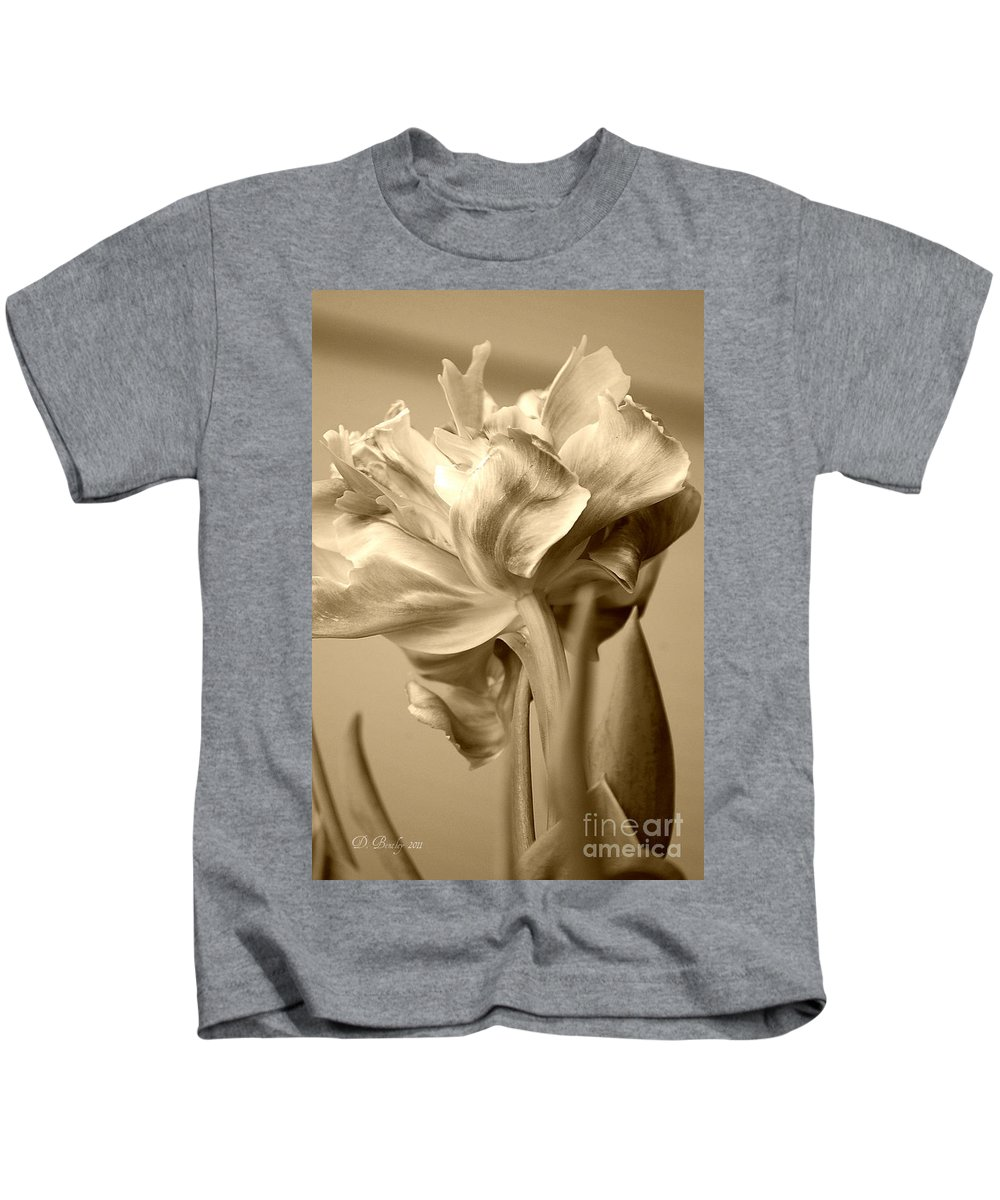 Tulips Kids T-Shirt featuring the photograph Tulips In Sepia by Donna Bentley