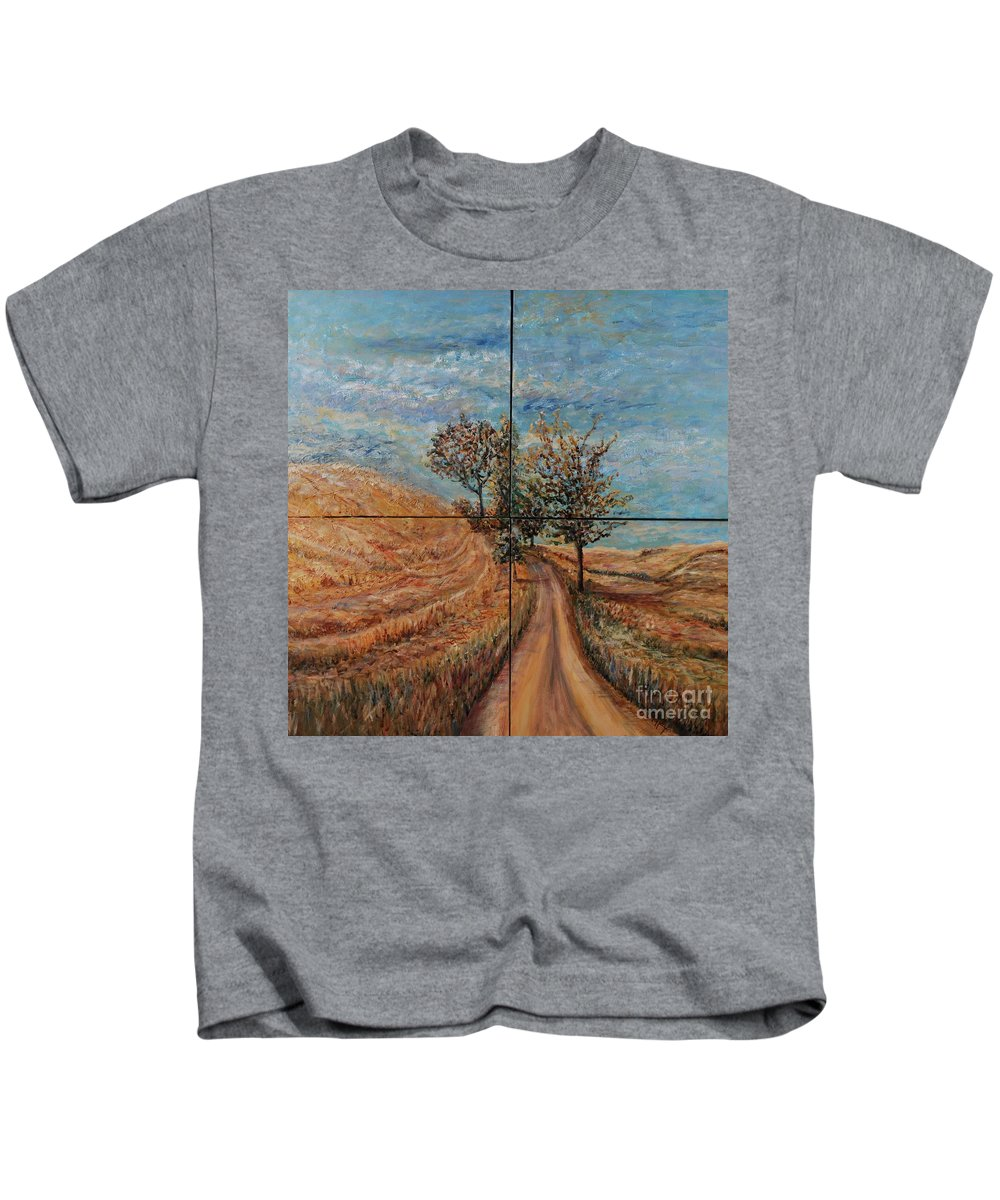 Landscape Kids T-Shirt featuring the painting Tuscan Journey by Nadine Rippelmeyer
