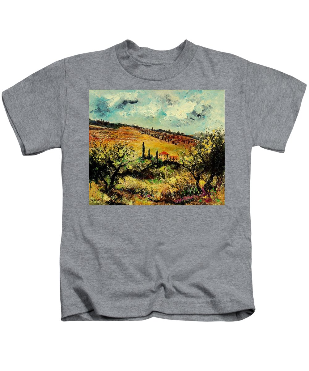 Provence Kids T-Shirt featuring the painting Tuscany 67 by Pol Ledent